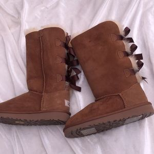 New UGG Kids' Bailey Bow Tall Chestnut Boots